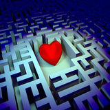 Heart in dark labyrinth Royalty Free Stock Photography