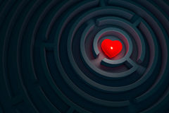 Heart in the dark labyrinth, 3d illustration. Red heart in the dark maze, 3d render Stock Images