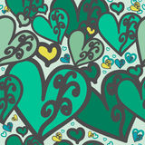 Heart-dark-moderate-cyan-lime-green. Seamless pattern. Heart green color of with swirls. For printing on packaging, bags, cups, laptop, furniture, etc. Vector Stock Image