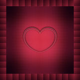 Heart in dark red. One heart in dark red abstract bordered background Stock Images