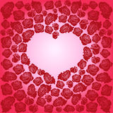 Heart of dark red roses on a pink background Royalty Free Stock Photography