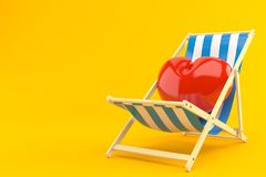 Heart on deck chair. Isolated on orange background Royalty Free Stock Images