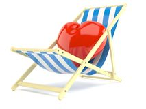 Heart on deck chair. On white background Stock Image