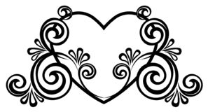 Heart decorated with floral ornament royalty free stock photos