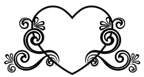 Heart decorated with floral ornament stock photo