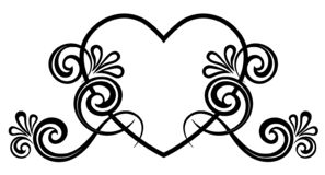 Heart decorated with floral ornament stock images