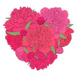 Heart decorated by flowers peony. Vintage template card, invitation, greetings, valentine. I love you. Royalty Free Stock Images