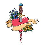 Heart decorated with flowers pierced with dagger.Tatoo ancient dagger piercing heart with dripping blood.Love.Old school. Heart decorated with flowers pierced Royalty Free Stock Photography