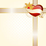 Heart is decorated a ribbon Royalty Free Stock Images