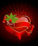 Heart is decorated a ribbon Stock Images
