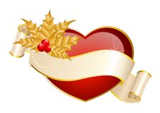 Heart is decorated a ribbon. Beautiful red heart is decorated a ribbon for christmastides Royalty Free Stock Photo