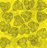 Heart decoration festive bright yellow background. Art Royalty Free Stock Photo