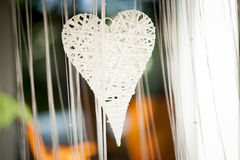 Heart decoration. White heart wedding garden decoration Royalty Free Stock Photo