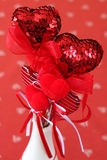 Heart decorations in a vase Stock Photo