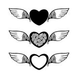 Heart with decorative wings for your design Royalty Free Stock Photos