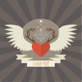 Heart with deer antlers and wings on gray. Stock Photos