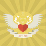 Heart with deer antlers and wings on yellow. Stock Photos