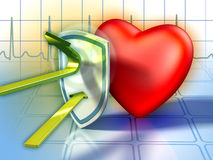 Heart defenses. Shield protecting the heart from harmful substances. Digital illustration Stock Images