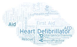 Heart Defibrillator word cloud, made with text only. Heart Defibrillator word cloud, made with text only vector illustration
