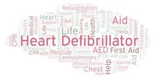 Heart Defibrillator word cloud, made with text only. Heart Defibrillator word cloud, made with text only stock illustration