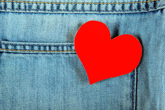 Heart on Denim Background Royalty Free Stock Photo