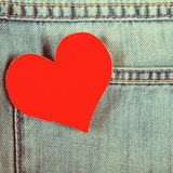 Heart on Denim Background Royalty Free Stock Photography