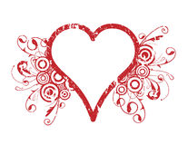 Heart Design. Illustration, red heart design with circles and vines, white background Royalty Free Stock Images