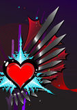 Heart Design. Abstract  heart design, dark colors, valentine card, vertical alignment Stock Image