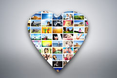 Heart design element made of pictures of people, animals and places Royalty Free Stock Image