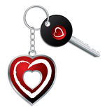 Heart design key with keychain and keyholder Royalty Free Stock Photo