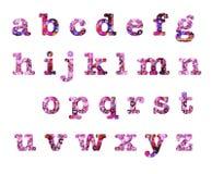Heart design lower case letters alphabet. Valentines Day batik pink and red hearts batik style lower case small letters alphabet text design elements. Digital royalty free illustration