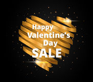 Heart design made by Golden ribbon, Glowing greeting card Royalty Free Stock Image