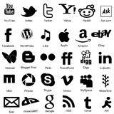 Essentual, popular social media icons in flat modle. Royalty Free Stock Photography