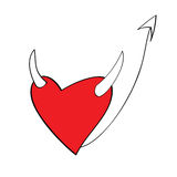 Heart in devil look. Cartoon heart in devil look Royalty Free Stock Photo