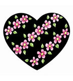 Heart with diagonal flowers Stock Photography