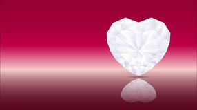 Heart diamond artwork red. Brilliant diamond heart on a red background Royalty Free Stock Photos