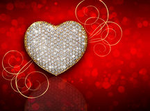 Heart diamond composition. Valentine's day background Royalty Free Stock Photos
