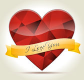Heart-diamond-I-Love-You. Red diamond Heart with gold ribbon and I LOVE YOU message for your partner Royalty Free Stock Photo