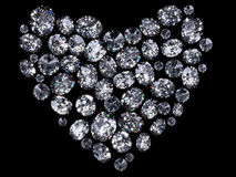 Heart of diamonds. Isolated on black background Royalty Free Stock Photos