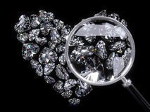 Heart of Diamonds. And magnifier Royalty Free Stock Photography