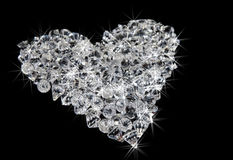 Heart of diamonds on black Royalty Free Stock Images