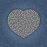 Jeans heart with spangles Stock Photos