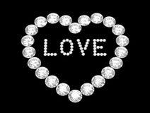 Heart of diamonds, 3D rendering Royalty Free Stock Photos