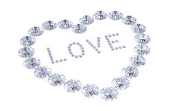 Heart of diamonds with word love Stock Photo