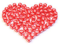 Heart dice. Group a percentage dice create a heart shape Royalty Free Stock Image
