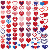 Heart different icons Stock Photos