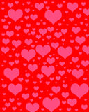 Heart digital scrapbook paper. Pink hearts of varying sizes on red background Stock Photography