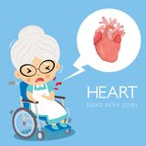 Heart disease of cardiology in the grandmorther royalty free illustration
