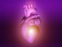 Heart disease 3d anatomy illustration purple pink Stock Photo