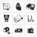 Heart disease, hospital Vector Icons Set Royalty Free Stock Image